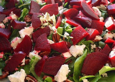 Roasted Beet Salad With Fresh Goat Cheese, Arugula Blossoms and Toasted Pecans