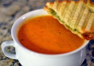 Creamy Tomato Soup w/ Grilled Cheddar Basil Sandwich