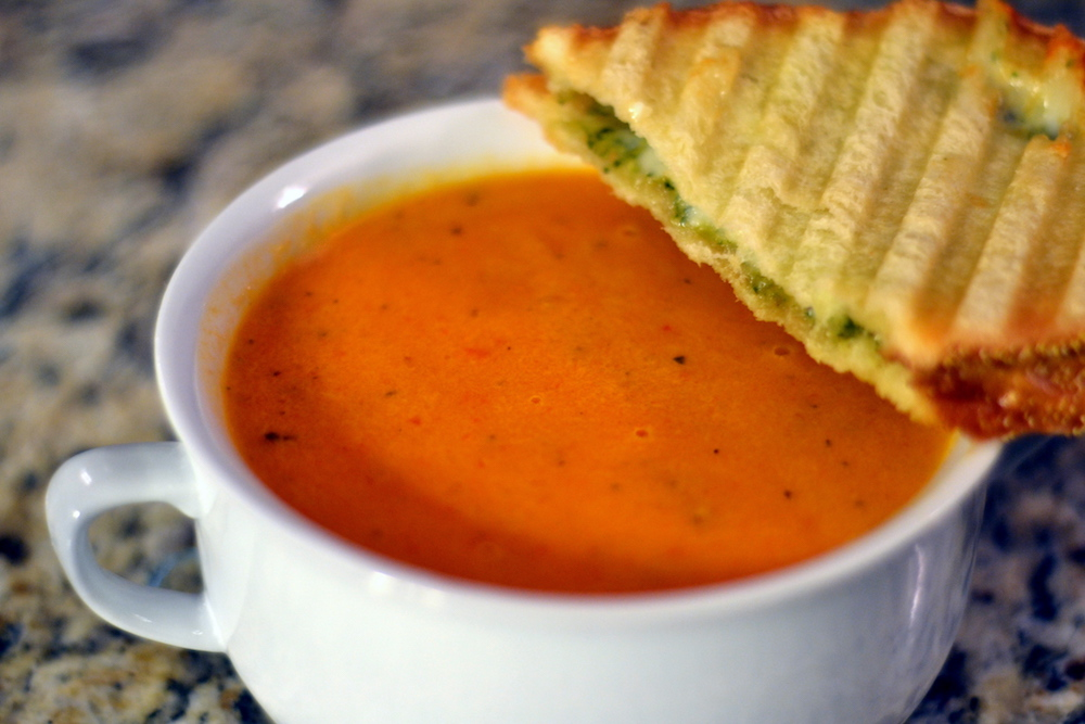 Creamy Tomato Soup w/ Grilled Cheddar Basil Sandwich | The Olive ...