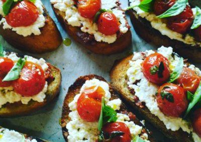 Roasted Cherry Tomato Brushetta w/Basil and Ricotta