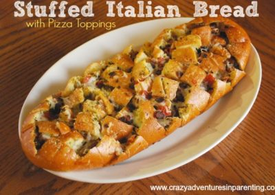 Stuffed Italian Bread Recipe {with Pizza Toppings}