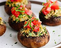 Stuffed Mushrooms with Bruschetta Topping