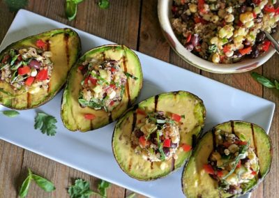 Grilled Avocado with Spiced Quinoa & Black Bean Salad