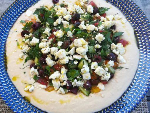 White Bean Spread with Mediterranean Cherry Tomato & Cucumber Salad