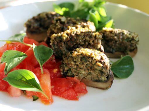 Pumpkin Seed Pesto Stuffed Mushrooms [Vegan]