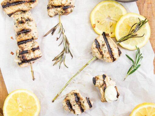 Garlic & Rosemary Chicken Skewers {with Lemon Aioli)
